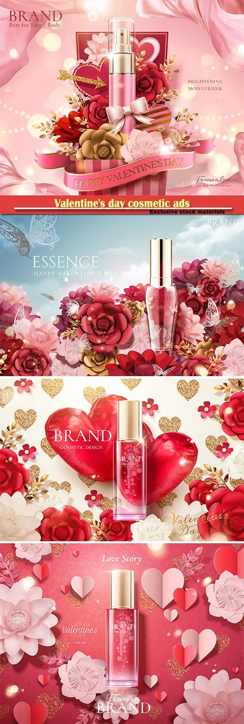 Valentine's day cosmetic ads in 3d vector illustration