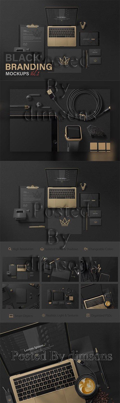Black Branding Mockups Vol.1 PSD