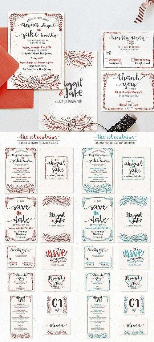 Watercolor Floral Wedding Suite - 587288
