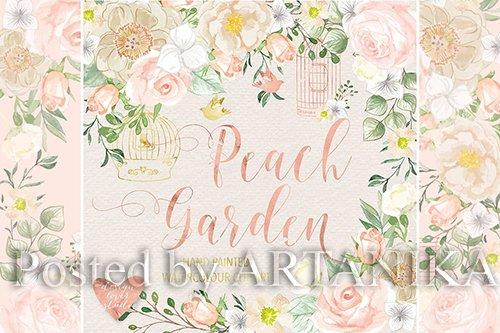 Peach garden vector