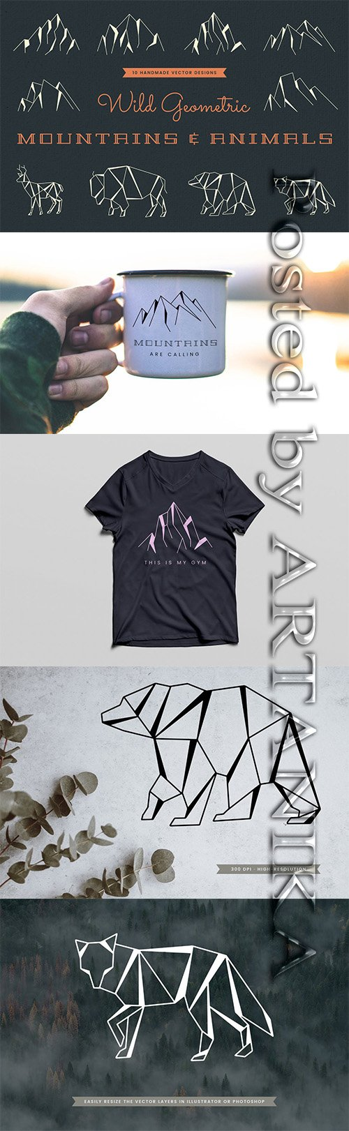 Wild Geometric Mountains & Animals