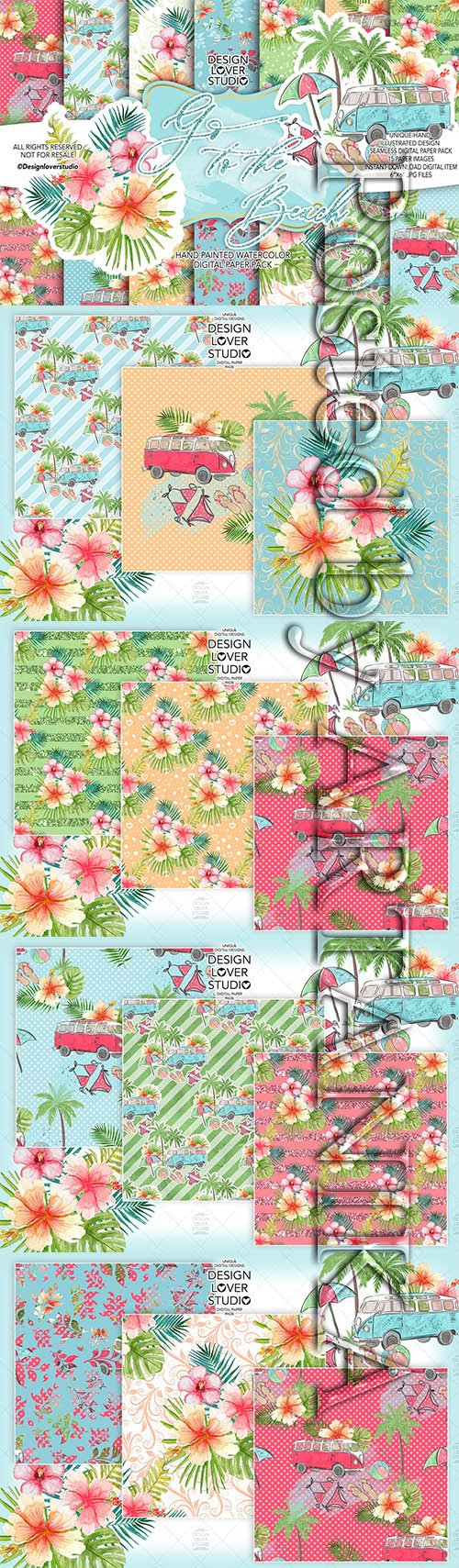 Go to the Beach digital paper pack