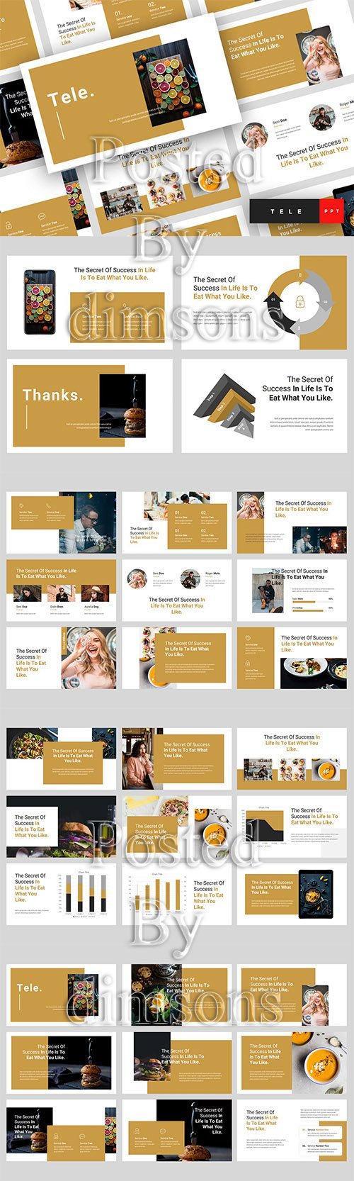 Tele - Food Powerpoint, Keynote and Google Slides Template