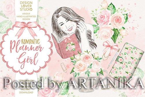 Watercolor Planner Girl design