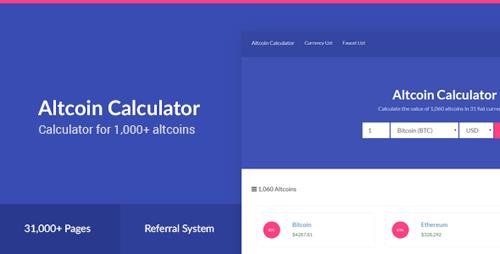 CodeCanyon - Altcoin Calculator v1.0 - 1,000+ Crypto & 31 Fiat Currencies - 20542161