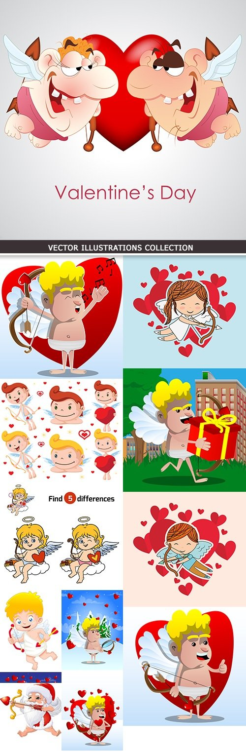 Happy cartoon romantic cupid with onions and arrows