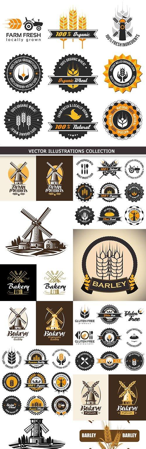 Bakery agriculture wheat harvest design emblem