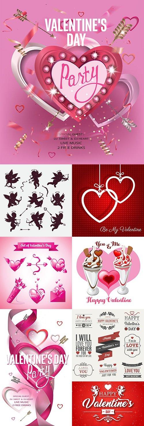 Valentines Day romantic card decorative elements 10