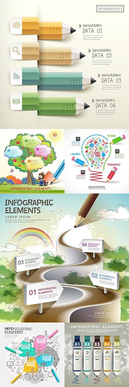 Pencil infographics business options elements 30