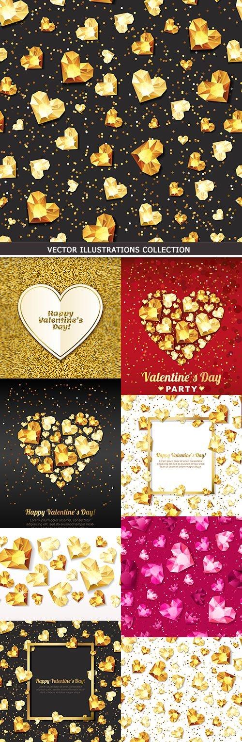 Valentines Day diamond golden decorative elements 11