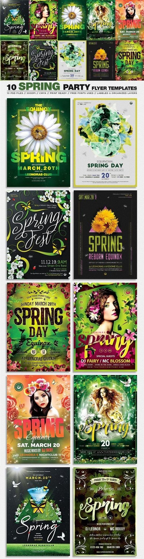 10 Spring Party Flyer Bundle - 3441084