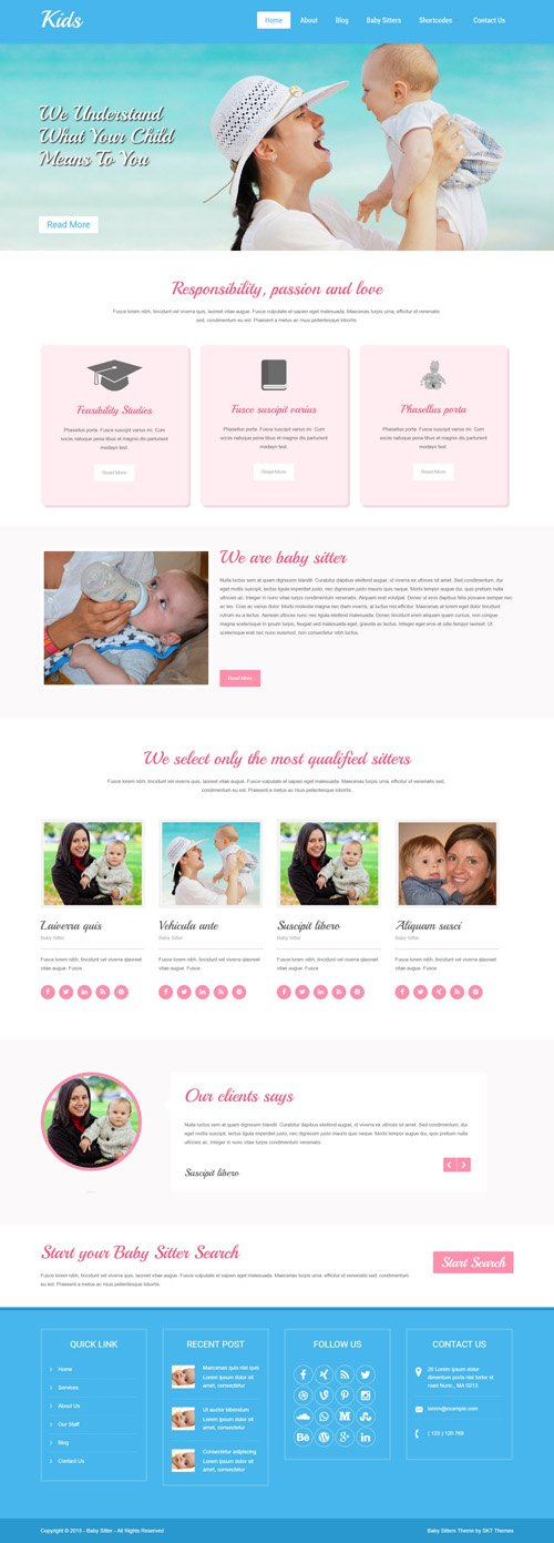 SKT Themes - Babysitter v1.0 - Responsive WordPress Theme
