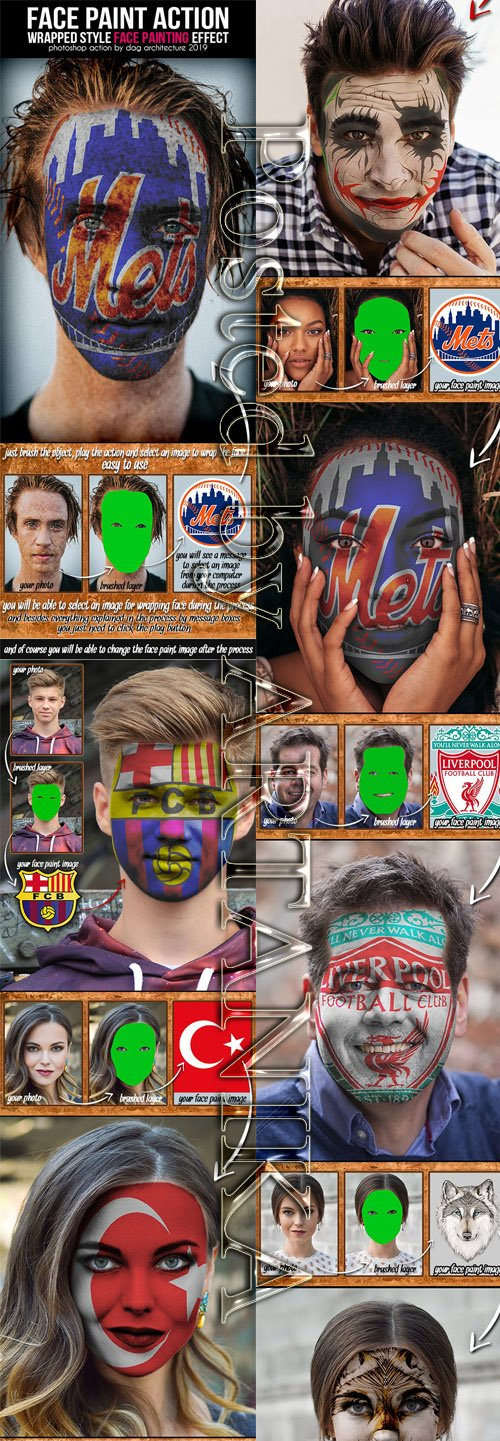 GraphicRiver - Face Paint Action - Wrapped Style 23142048