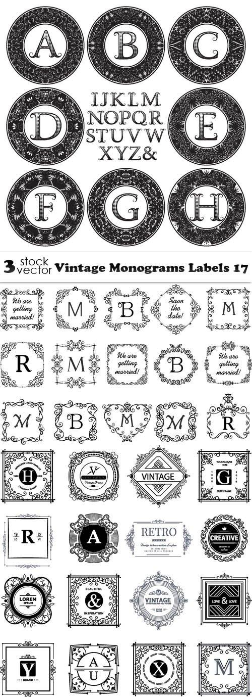 Vectors - Vintage Monograms Labels 17