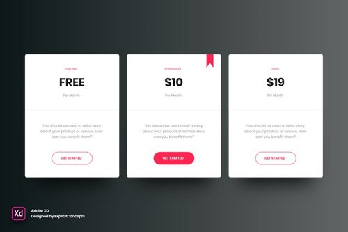 Pricing Table Vol 03 - Adobe XD