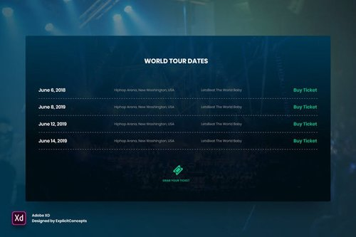 Band World Tour - Adobe XD