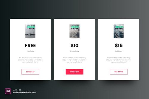 Ebook Pricing Table - Adobe XD