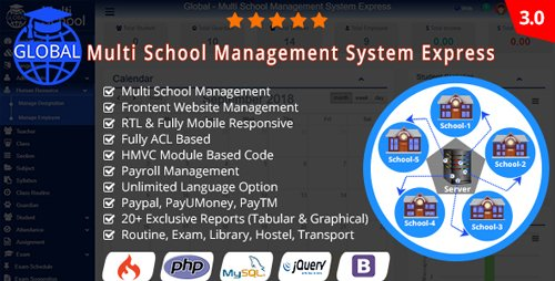 CodeCanyon - Global v3.0 - Multi School Management System Express - 21975378 - NULLED
