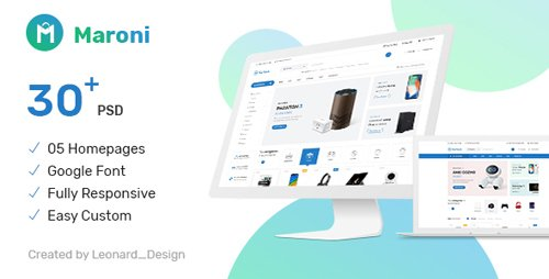 ThemeForest - Maroni v1.0 - Multipurpose Electronics eCommerce PSD Template - 23193004