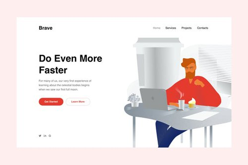 Man with Coffee Landing Page Illustration