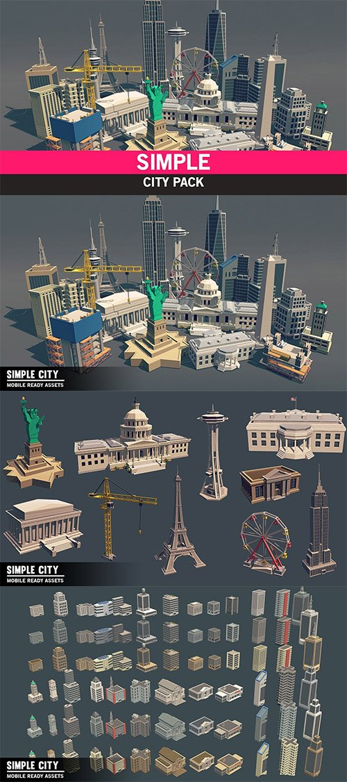 Simple City - Cartoon Assets Low-poly 3D model