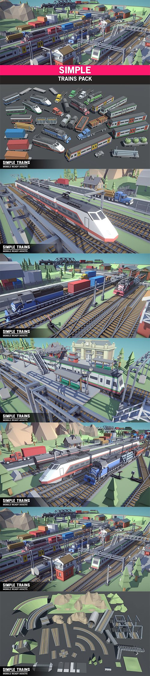 Simple Trains - Cartoon Assets Low-poly 3D model