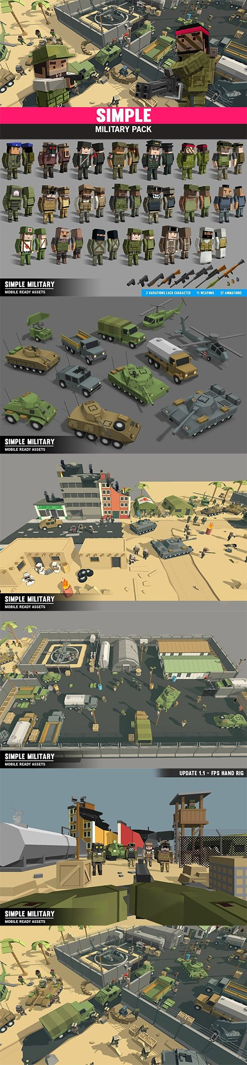 Simple Military - Cartoon Assets Low-poly 3D model