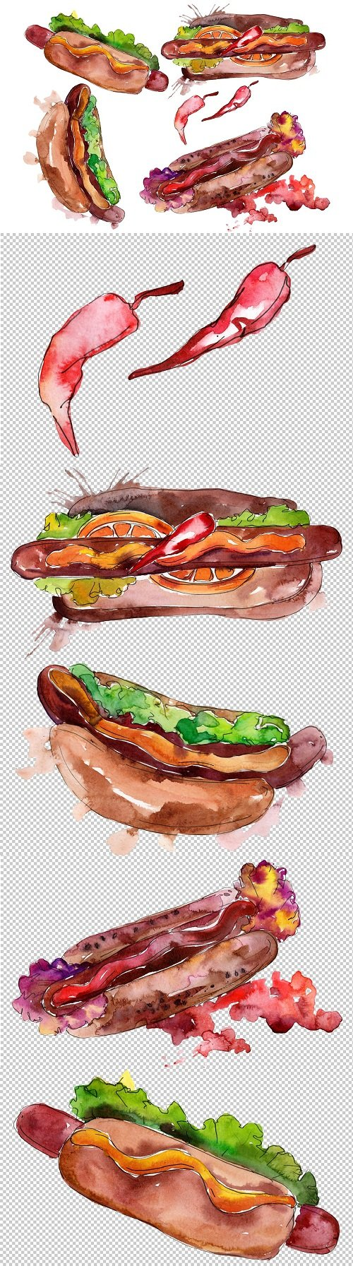 Hot-Dog With pepper Watercolor png - 3470670