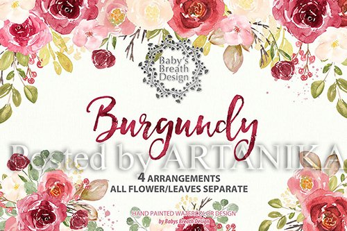 Burgundy watercolor design