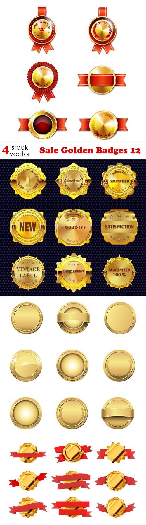 Vectors - Sale Golden Badges 12