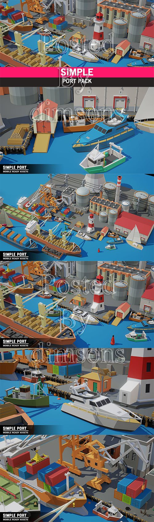 Simple Port - Cartoon Assets Low-poly 3D model