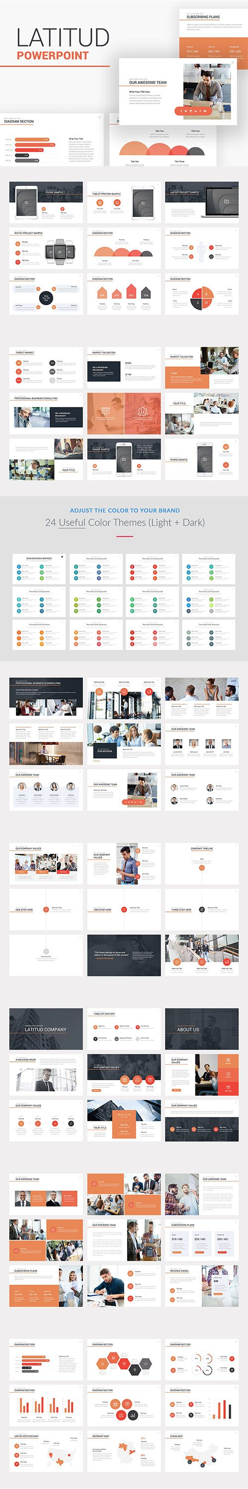 Latitud Business Pitch Deck Powerpoint, Keynote and Google Slides Template
