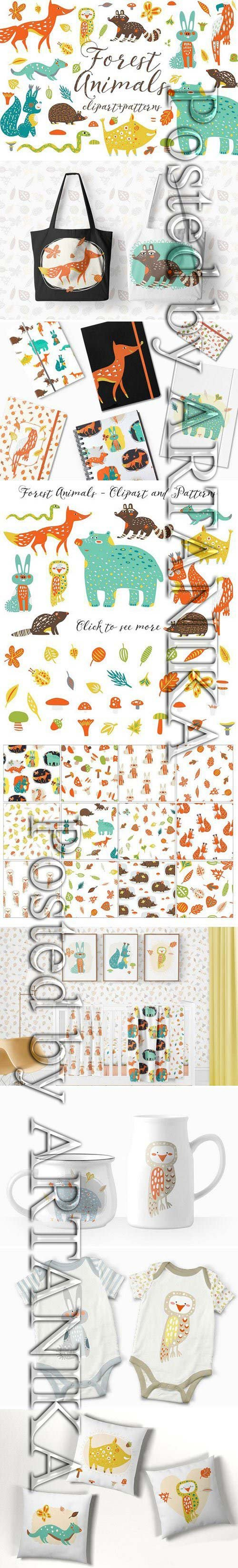 CM - Cute Forest Animals Clipart 1551874