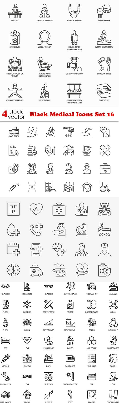 Vectors - Black Medical Icons Set 16