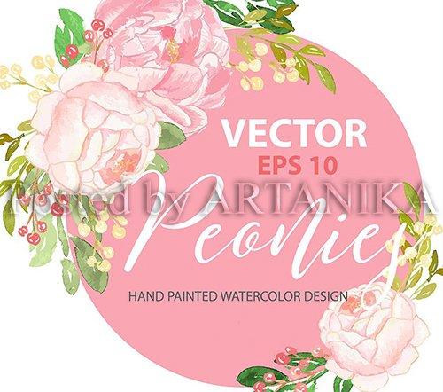 Peony design VECTOR