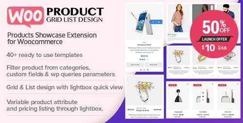CodeCanyon - WOO Product Grid/List Design v1.0.0 - Responsive Products Showcase Extension for Woocommerce - 23167226