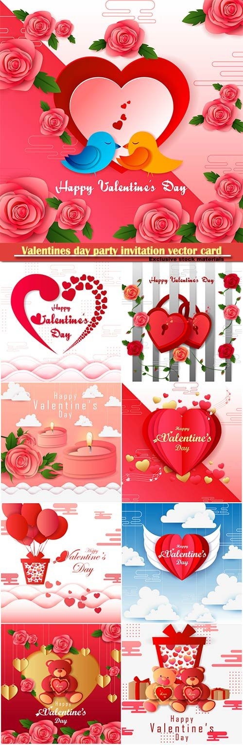 Valentines day party invitation vector card # 58