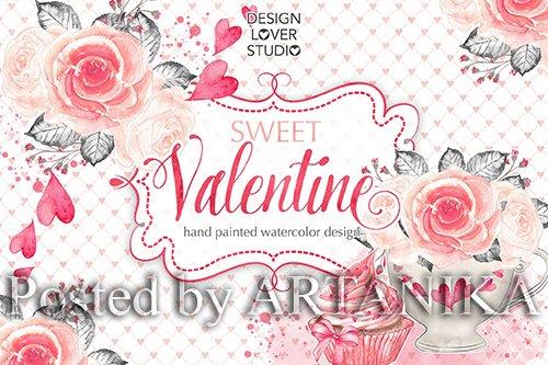 Watercolor Sweet Valentine design