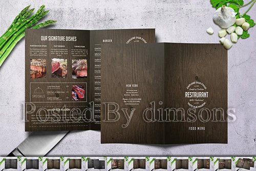 Wood Style 2x Bifold Menu Bundle