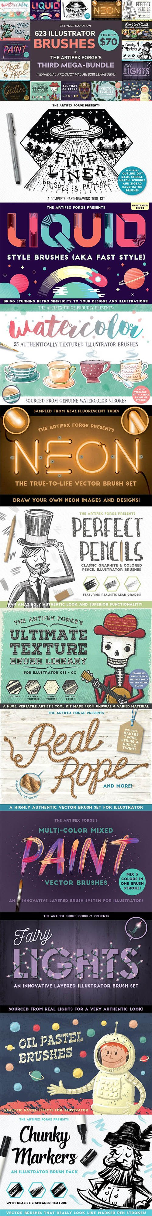 Illustrator Brushes Mega-Bundle 3 2274281