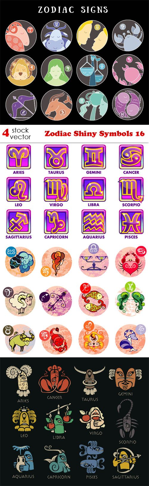 Vectors - Zodiac Shiny Symbols 16