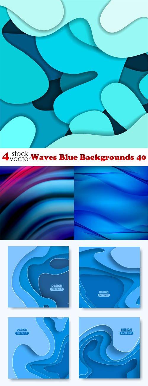 Vectors - Waves Blue Backgrounds 40