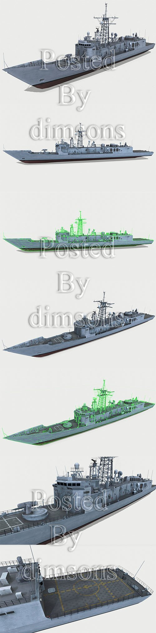 Oliver Hazard Perry-class frigate Low-poly 3D model