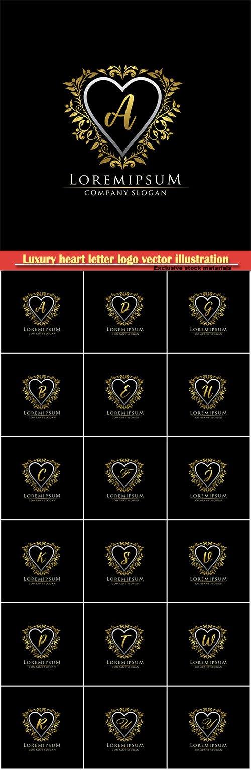 Luxury heart letter logo vector illustration