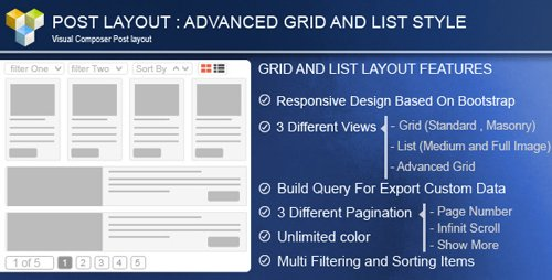 CodeCanyon - Advance Post Grid/List with custom filtering for Visual Composer v3.9 - 8712997