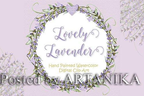 Watercolor lavender wreath design