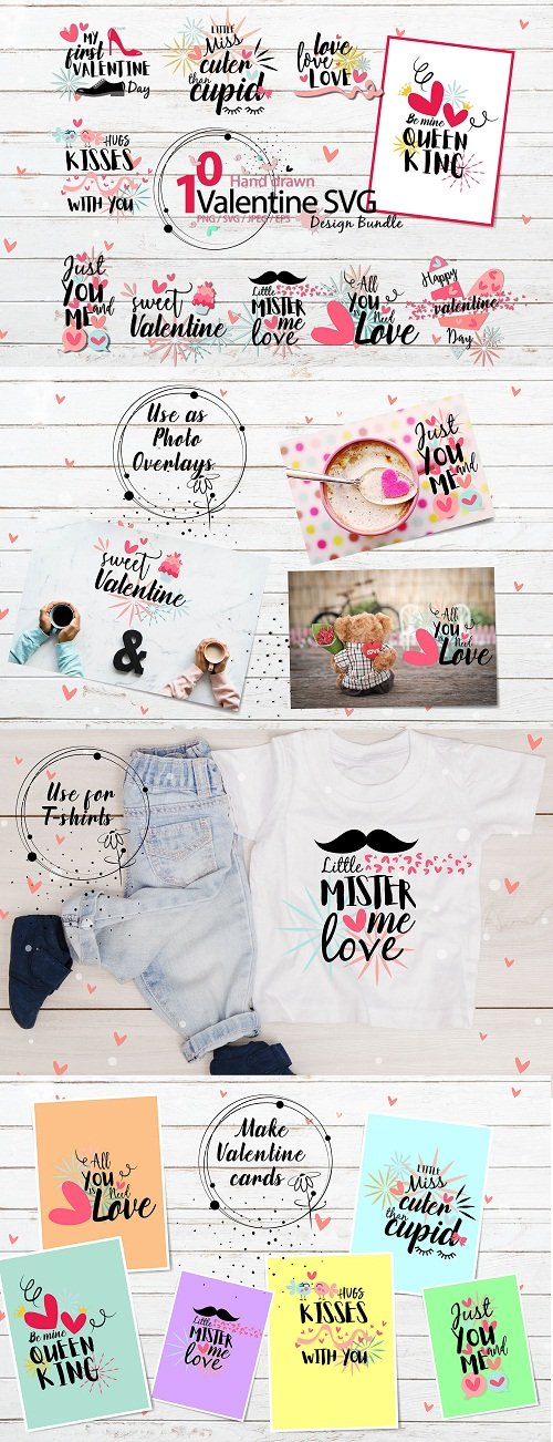 Hand drawn Valentine SVG Design Bundle - 213261