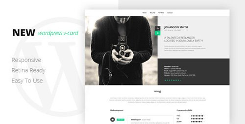 ThemeForest - NEW Retina Ready WordPress Vcard Theme v1.0 (Update: 29 January 19) - 8085509
