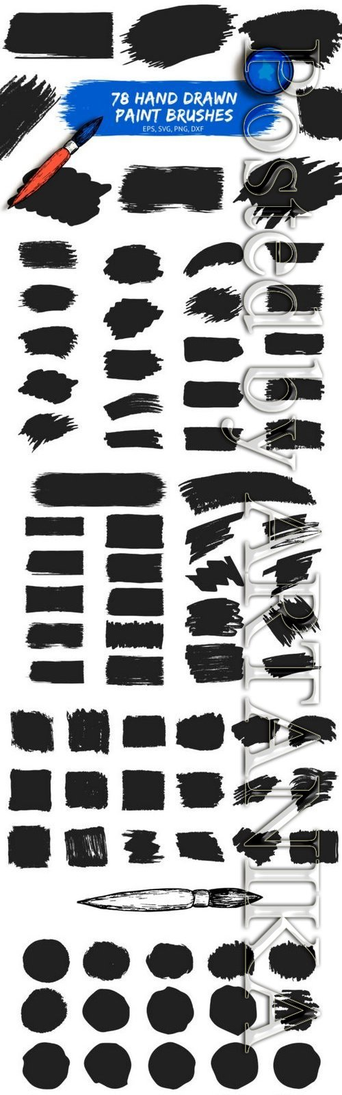 78 Hand drawn Paint Brushes