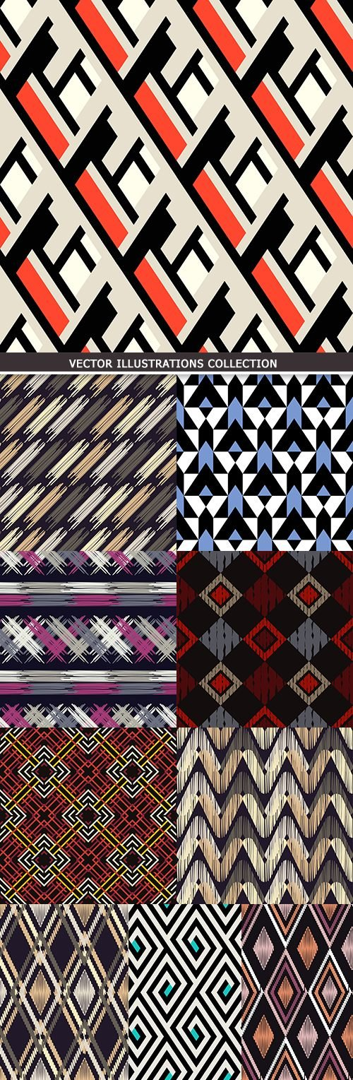 Abstract geometry seamless pattern design collection